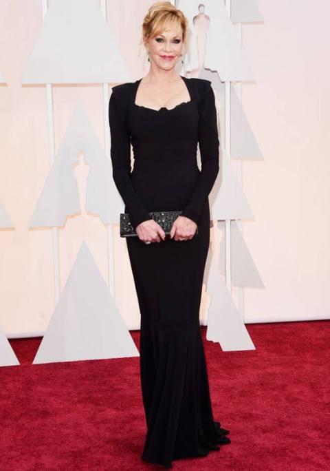 Melanie Griffith en los Oscars 2015 con clutch de Daniel Espinosa Jewelry